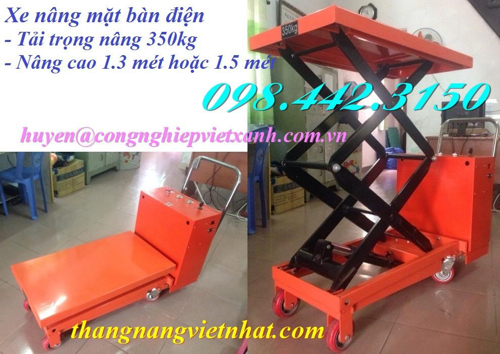 Xe nâng mặt bàn điện 350kg nâng cao 1.5m