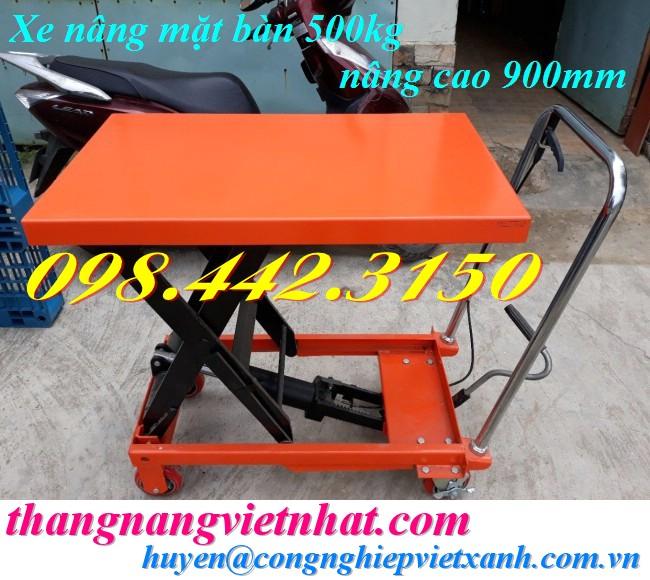 Xe nâng bàn 500kg nâng cao 900mm WP500