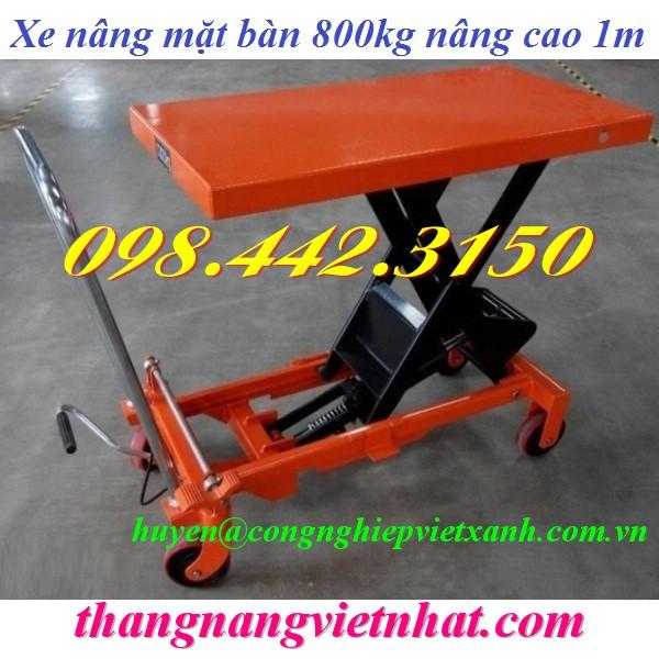 Xe nâng bàn 800kg nâng cao 1 mét