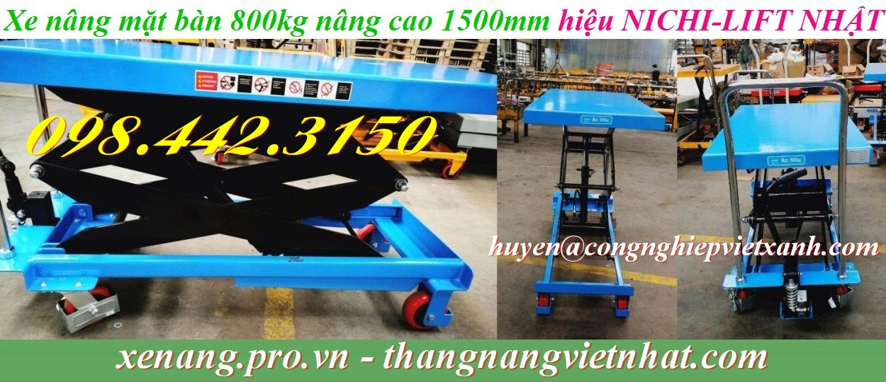 Xe nâng bàn 800kg nâng cao 1.5 mét
