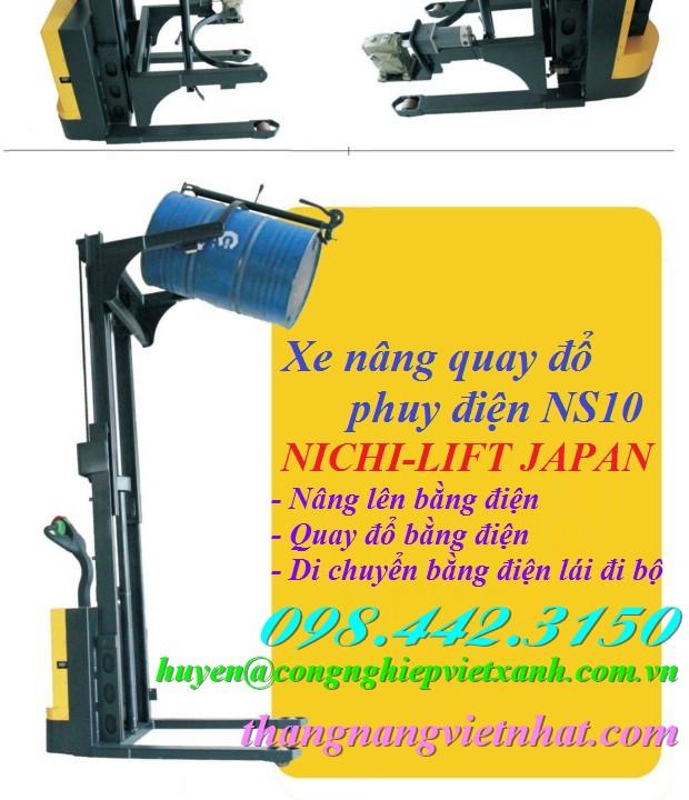 Xe nâng quay đổ phuy điện NS10 NICHI-LIFT