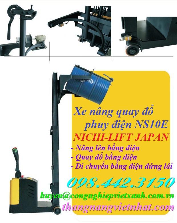 Xe nâng quay đổ phuy điện NS10E NICHI-LIFT