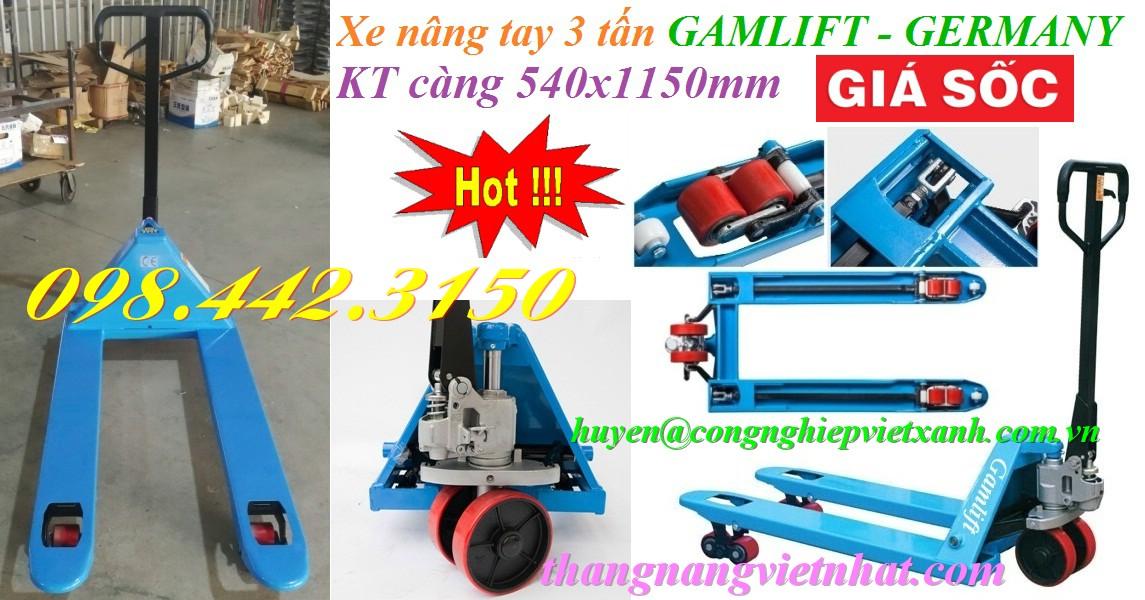 Xe nâng tay 3 tấn càng hẹp GAMLIFT