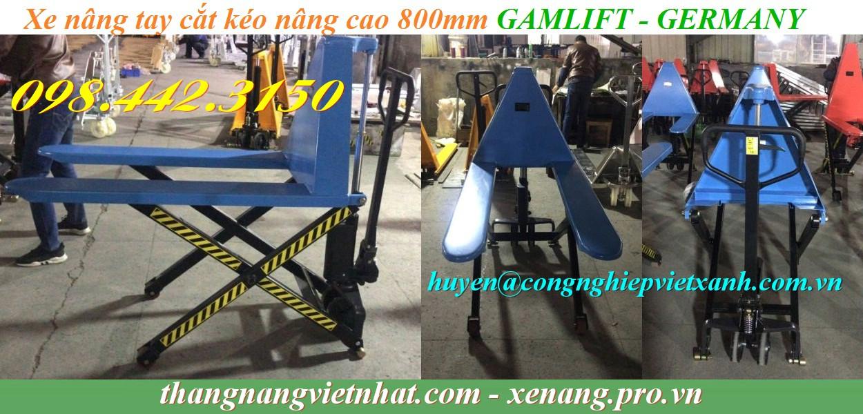 Xe nâng tay cắt kéo nâng cao 800mm SLT15M Gamlift