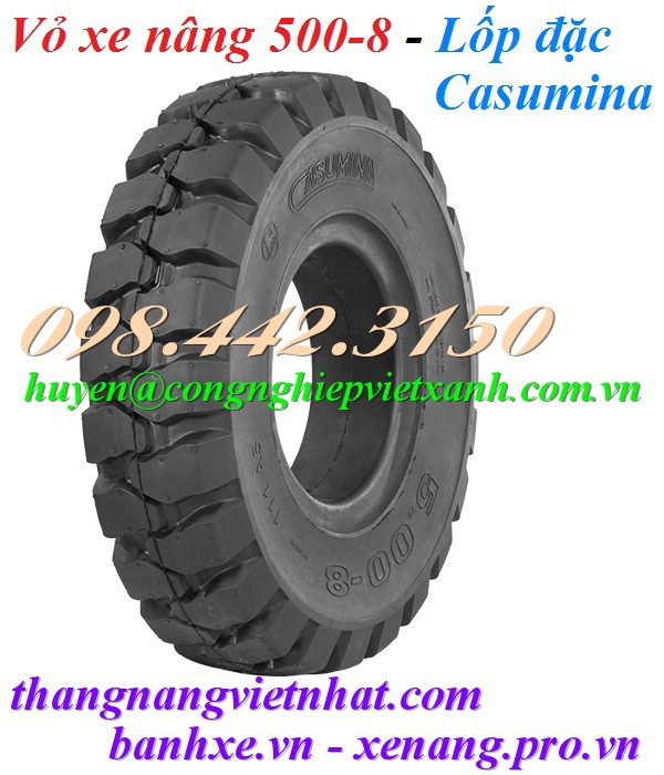 Vỏ xe nâng bánh đặc 500-8 Casumina