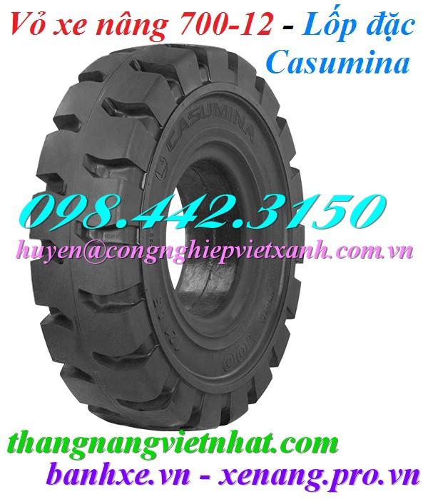 Vỏ xe nâng bánh đặc 700-12 Casumina