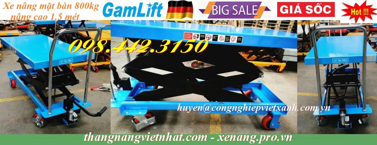 Xe nâng bàn 800kg nâng cao 1.5 mét Gamlift - Đức