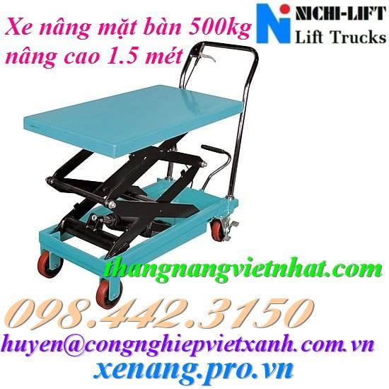 Xe nâng mặt bàn 500kg cao 1.5 mét