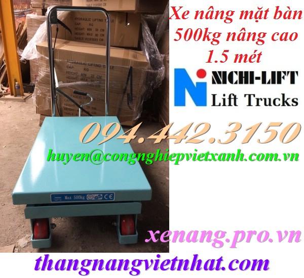 Xe nâng mặt bàn 500kg nâng cao 1.5m NICHI-LIFT