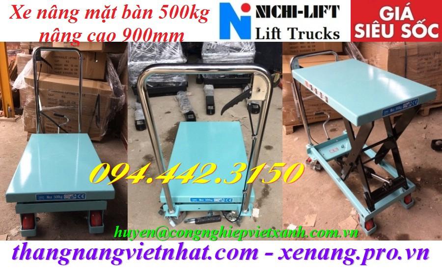 Xe nâng mặt bàn 500kg nâng cao 900mm NICHI-LIFT
