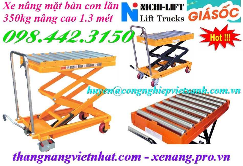 Xe nâng mặt bàn con lăn 350kg nâng cao 1.3 mét NICHI-LIFT