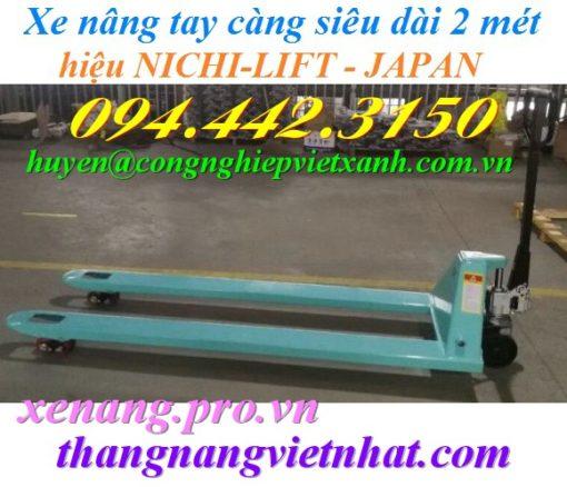Xe nâng tay càng dài 2m NICHI-LIFT