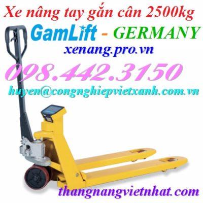 Xe nâng tay gắn cân 2500kg Gamlift - Germany