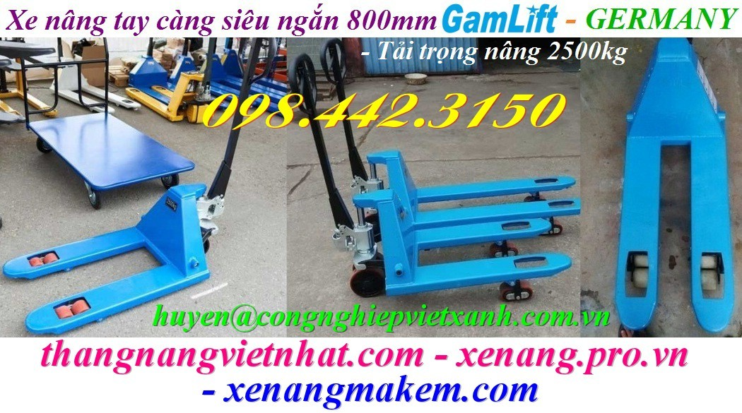 Xe nâng tay siêu ngắn càng 800mm M25S-8 Gamlift