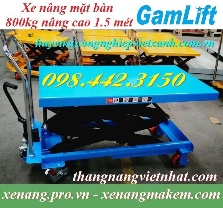 Xe nâng bàn 800kg nâng cao 1500mm GAMLIFT