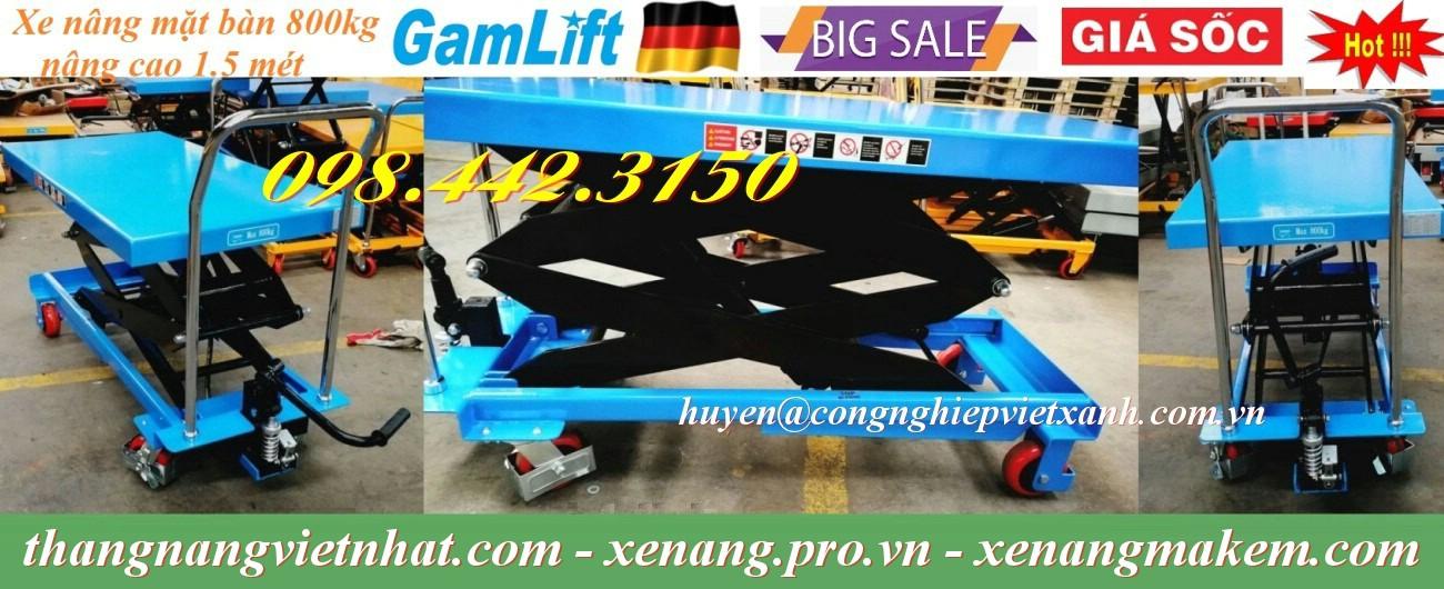 Xe nâng mặt bàn 800kg nâng cao 1500mm GAMLIFT