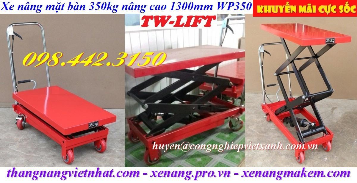 Xe nâng mặt bàn 350kg nâng cao 1m3 WP350 TW-lifter