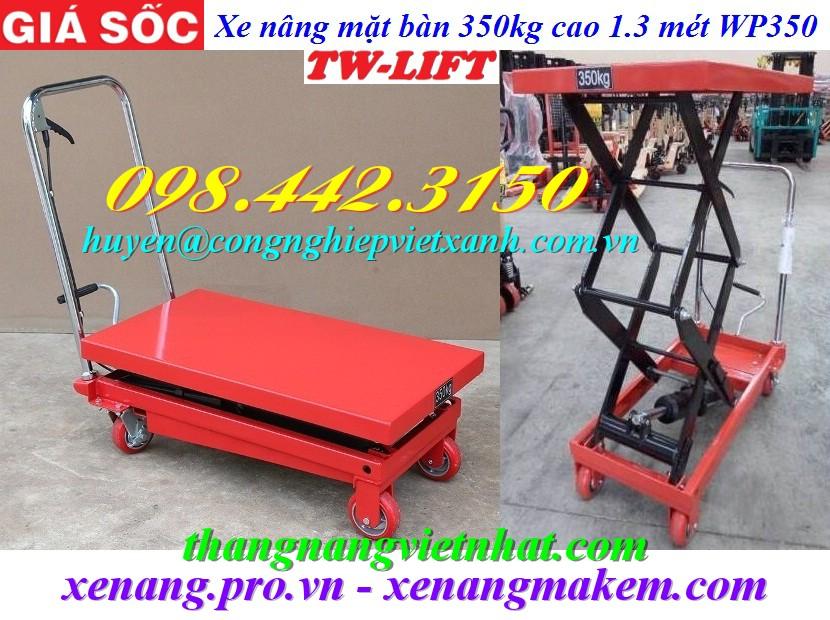 Xe nâng mặt bàn 350kg nâng cao 1300mm WP350 TW-lifter