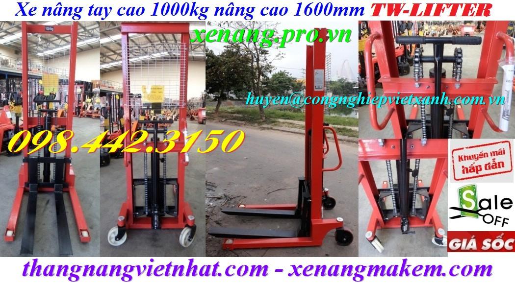 Xe nâng tay cao 1000kg nâng cao 1600mm