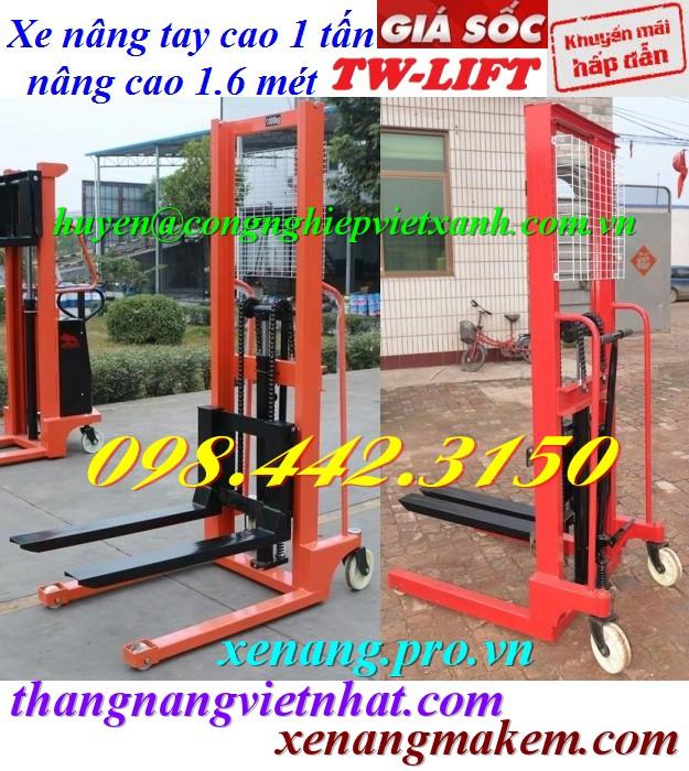Xe nâng tay cao 1000kg nâng cao 1.6 mét