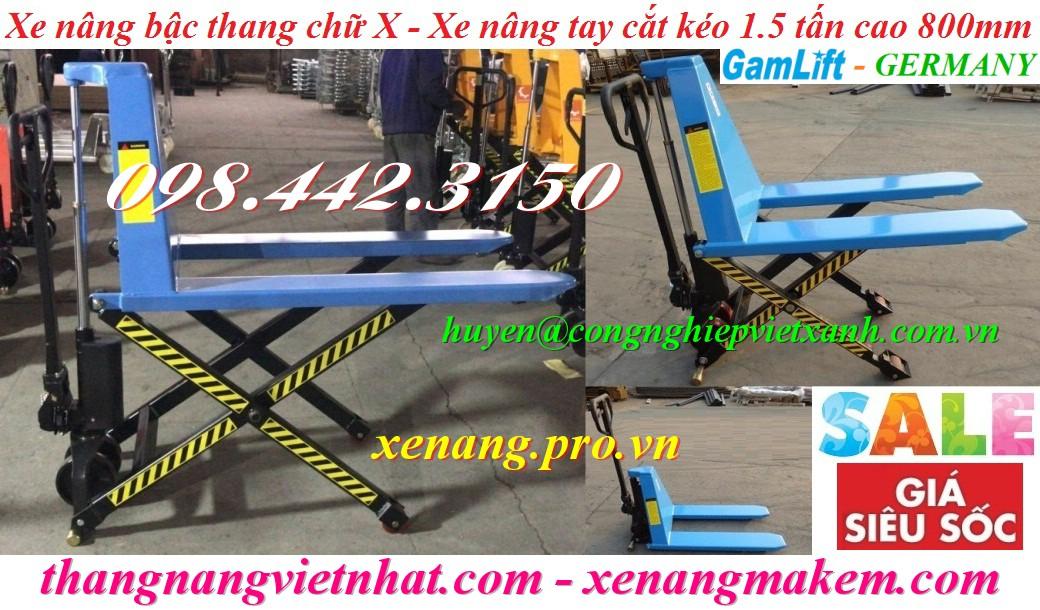 Xe nâng bậc thang chữ X 1500kg nâng cao 800mm