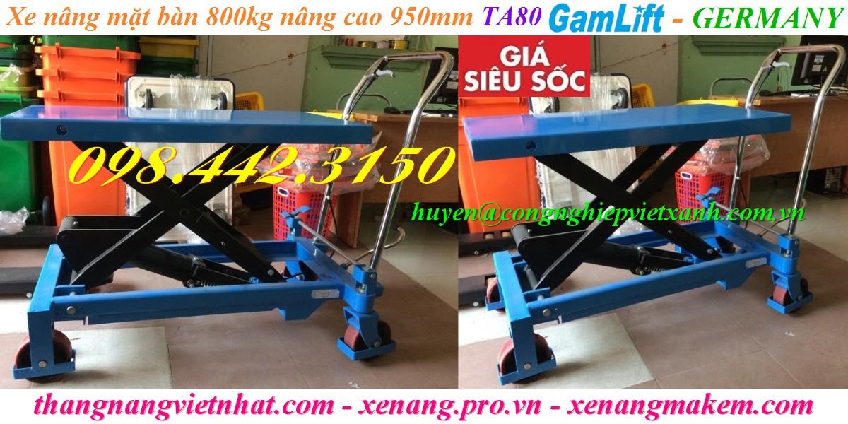 Xe nâng mặt bàn 800kg nâng cao 950mm Gamlift