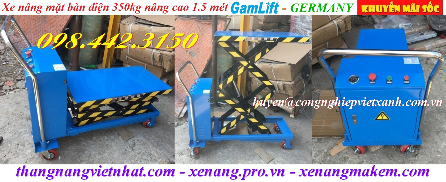 Xe nâng mặt bàn điện 350kg cao 1500mm Gamlift ETAD35