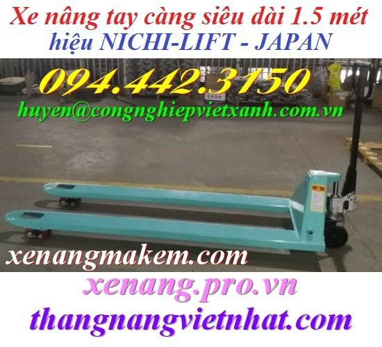 Xe nâng tay càng dài 1500mm Nichilift N25M-15