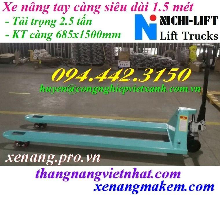 Xe nâng tay càng siêu dài 1500mm Nichilift N25M-15