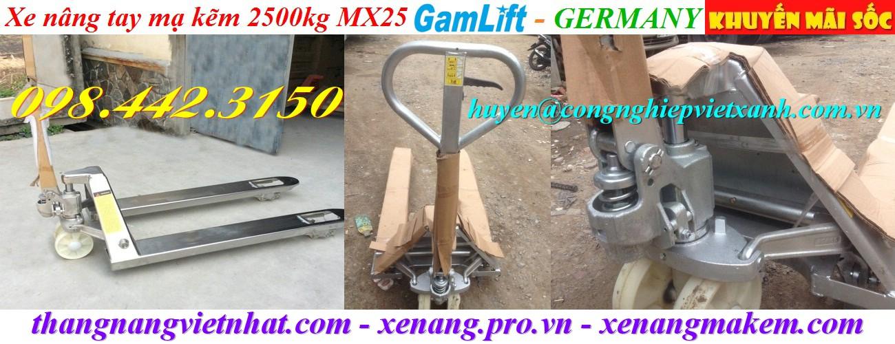 Xe nâng tay mạ kẽm 2500kg MX25 Gamlift