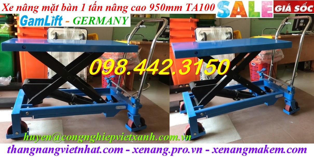 Xe nâng mặt bàn 1000kg nâng cao 950mm