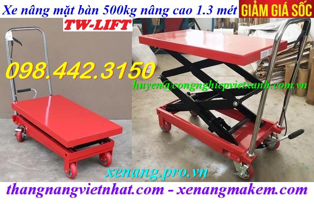Xe nâng bàn 500kg nâng cao 1.3 mét