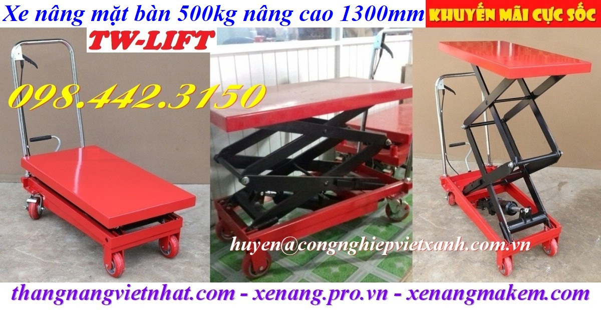 Xe nâng mặt bàn 500kg nâng cao 1300mm
