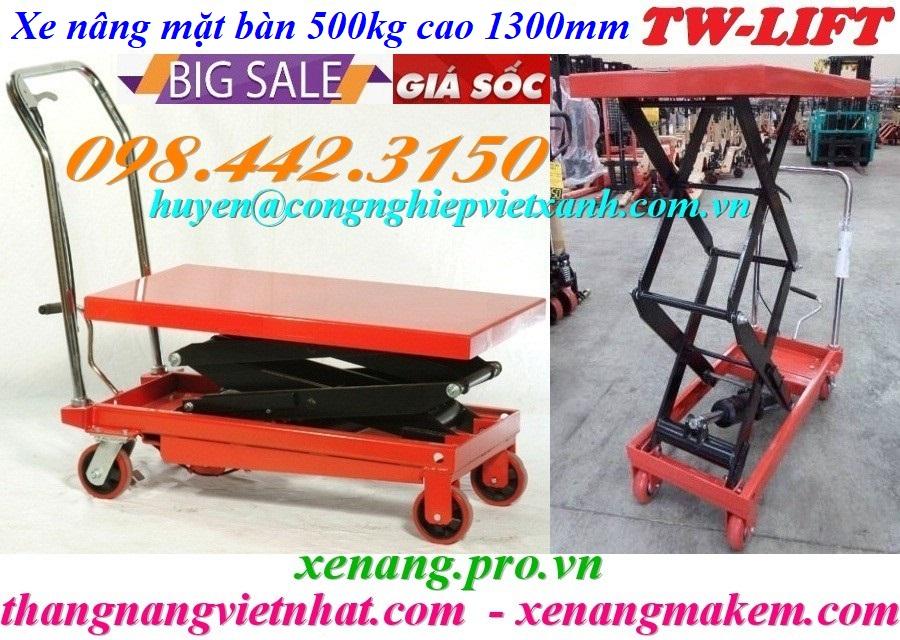 Xe nâng mặt bàn 500kg nâng cao 1300mm TW-lifter