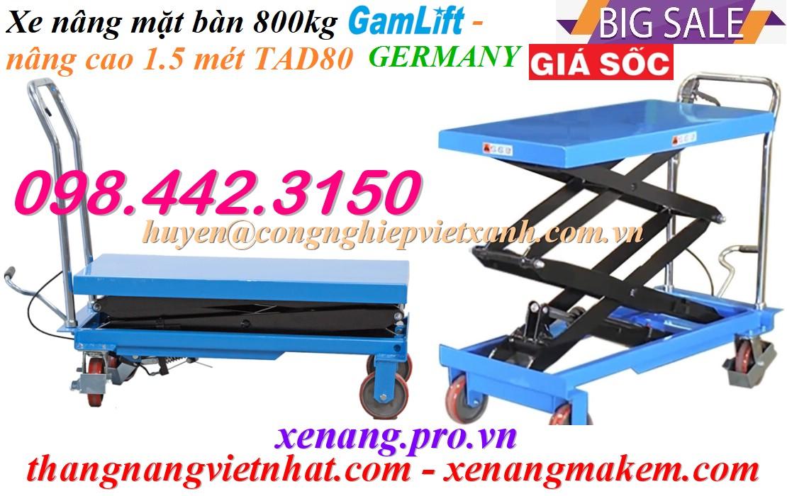 Xe nâng mặt bàn 800kg nâng cao 1.5 mét TAD80