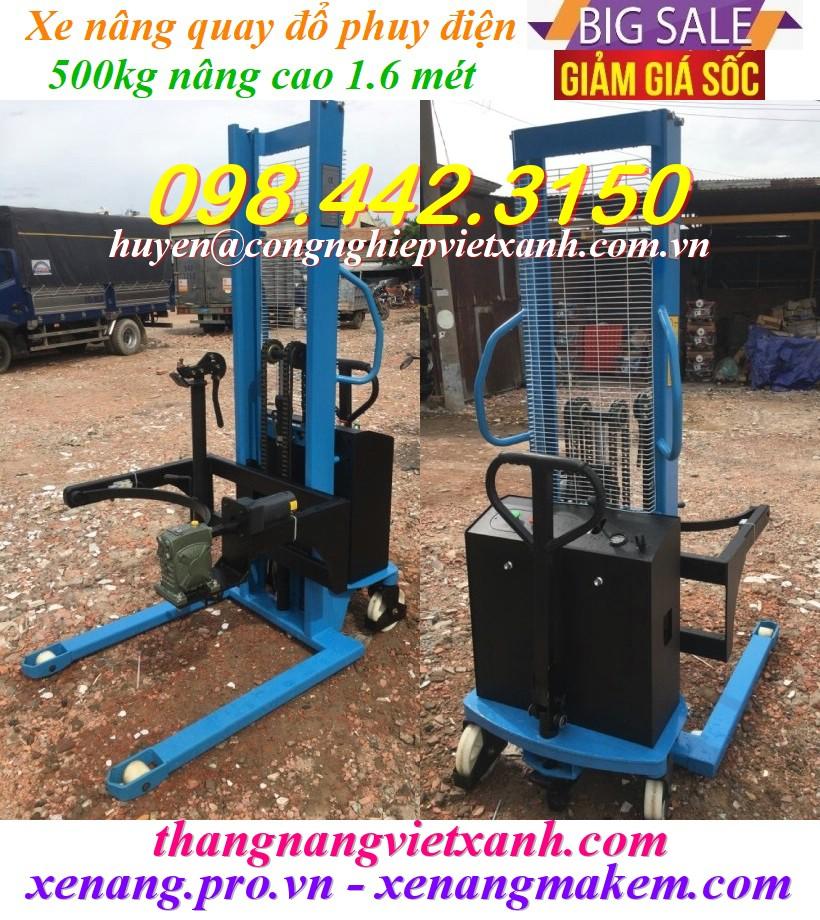 Xe nâng quay đổ phuy điện 500kg cao 1.6 mét Gamlift