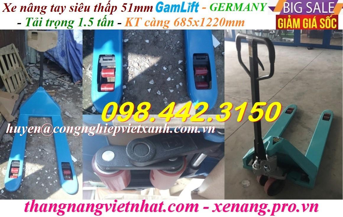 Xe nâng tay siêu thấp 51mm - 1500kg Gamlift
