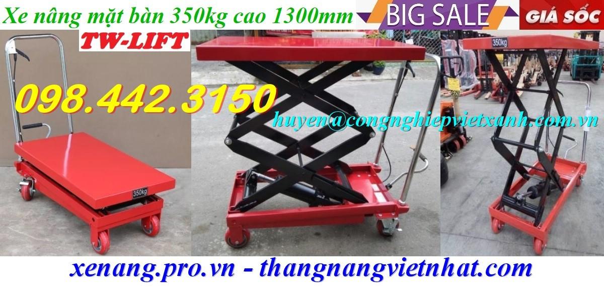 Xe nâng mặt bàn 350kg nâng cao 1300mm WP350 giá rẻ